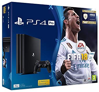 Sony PlayStation 4 Pro Console - Black - 1TB + FIFA18 & FIFA 18 Ultimate Team