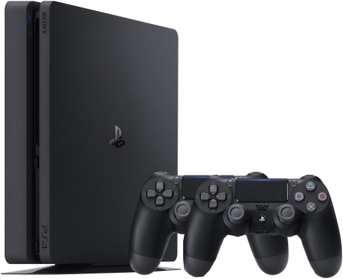 PlayStation 4 Console- 500GB Slim + 2 DualShock - Black-R2