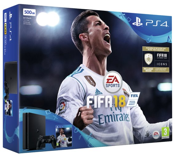 PlayStation 4 Console 500GB Slim + 2 DualShock + Fifa 18