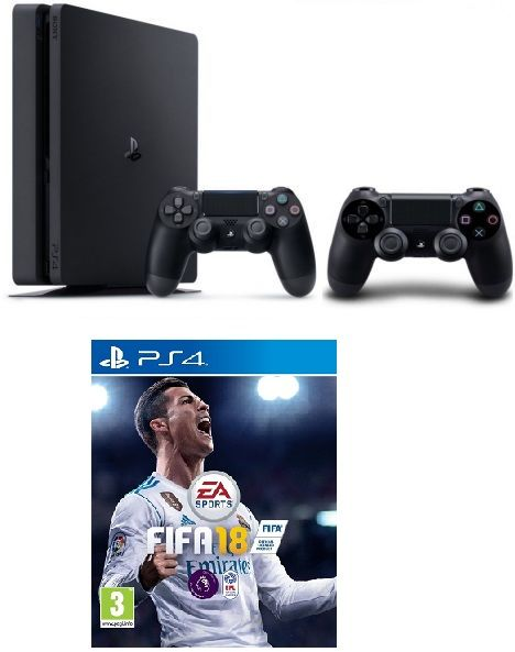 PlayStation 4 Console 500GB Slim  with Fifa 18+ 2 DualShock